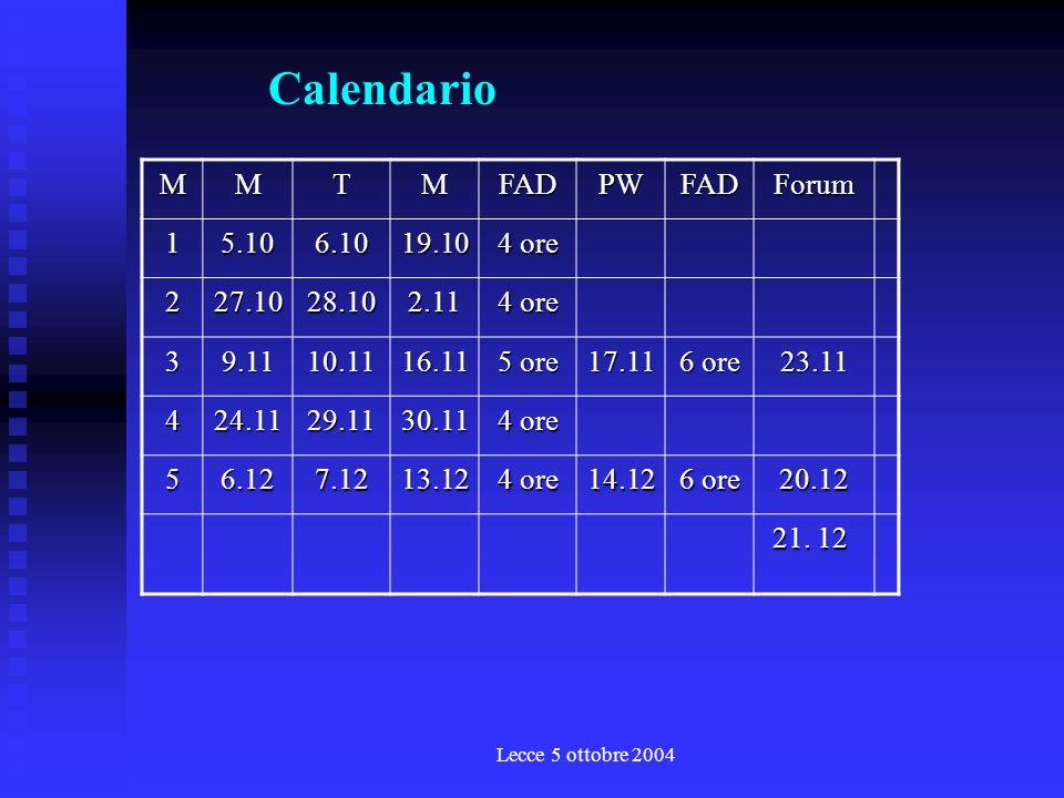 Lecce 5 ottobre 2004 Il quinto modulo: i sistemi di ascolto T M M Gli input: la qualità dei servizi la comunicazione dellascolto i sistemi di rilevazione dei fabbisogni i concetti di target e di campione la customer satisfaction loutput: il sistema di ascolto