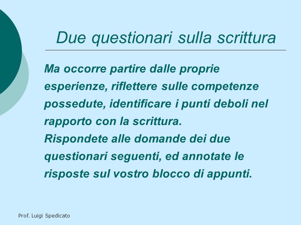 Prof.Luigi Spedicato Questionario 1 1)Quanto scrivete.