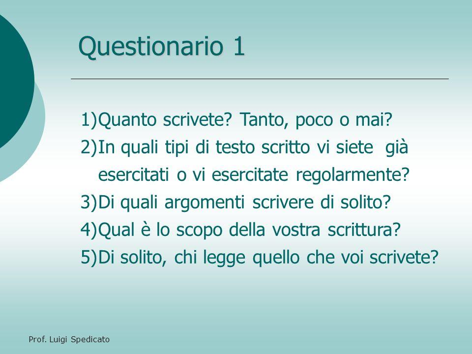 Prof. Luigi Spedicato Questionario 1 1)Quanto scrivete? Tanto, poco o mai? 2)In quali tipi di testo scritto vi siete già esercitati o vi esercitate re