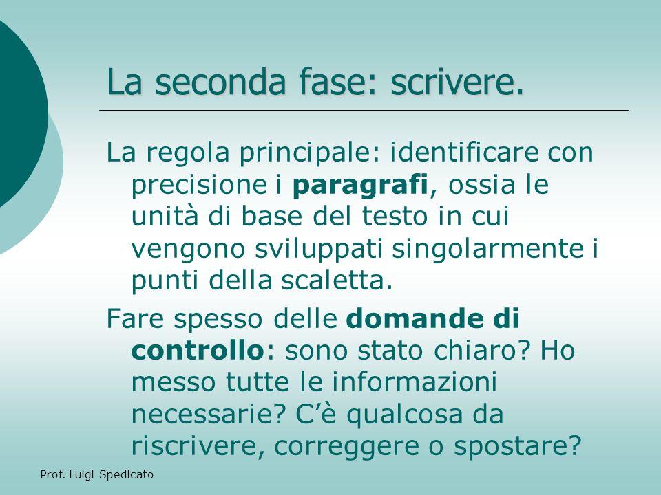 Prof.Luigi Spedicato Questo processo può avvenire dopo un singolo paragrafo o alla fine del testo.