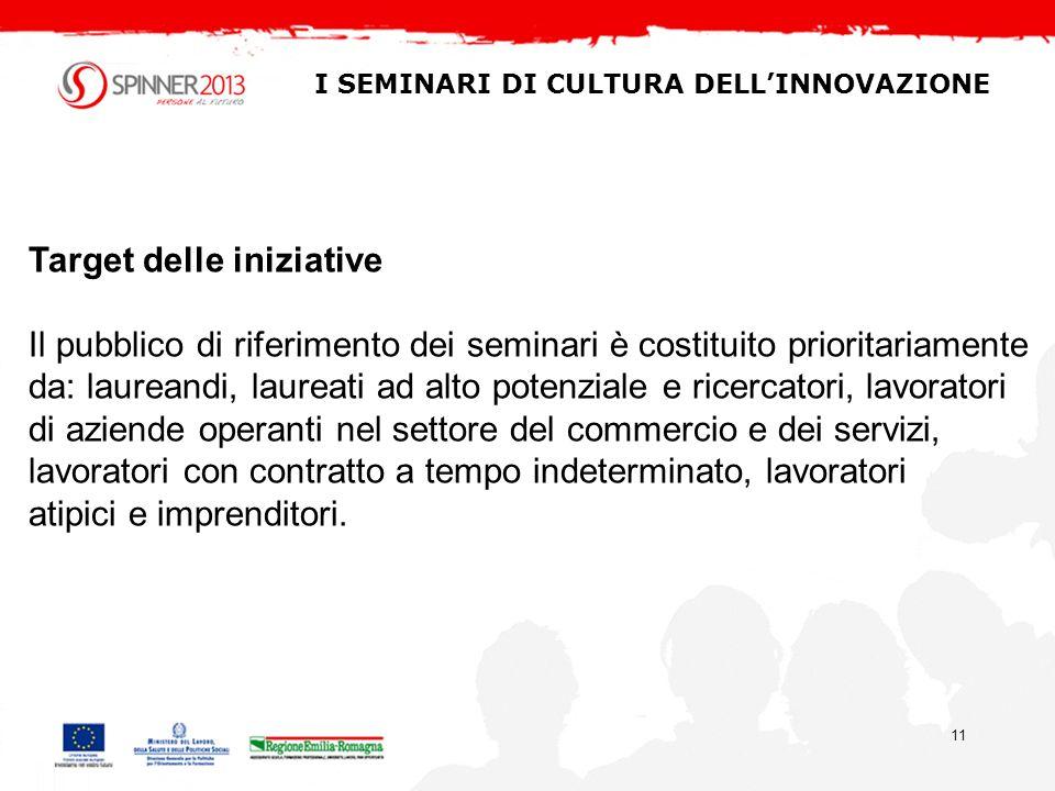 11 I SEMINARI DI CULTURA DELLINNOVAZIONE Target delle iniziative Il pubblico di riferimento dei seminari è costituito prioritariamente da: laureandi,