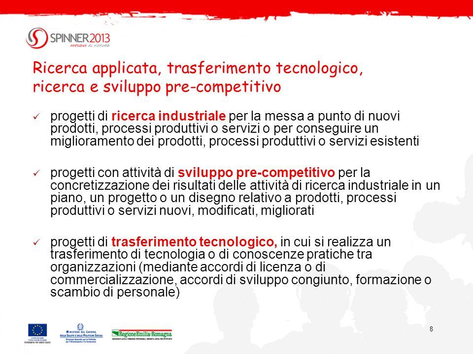 8 Ricerca applicata, trasferimento tecnologico, ricerca e sviluppo pre-competitivo progetti di ricerca industriale per la messa a punto di nuovi prodo