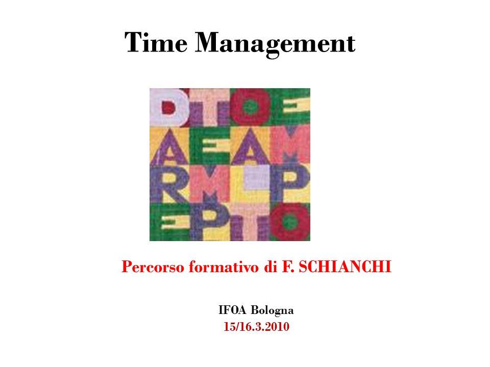 Time Management Percorso formativo di F. SCHIANCHI IFOA Bologna 15/16.3.2010