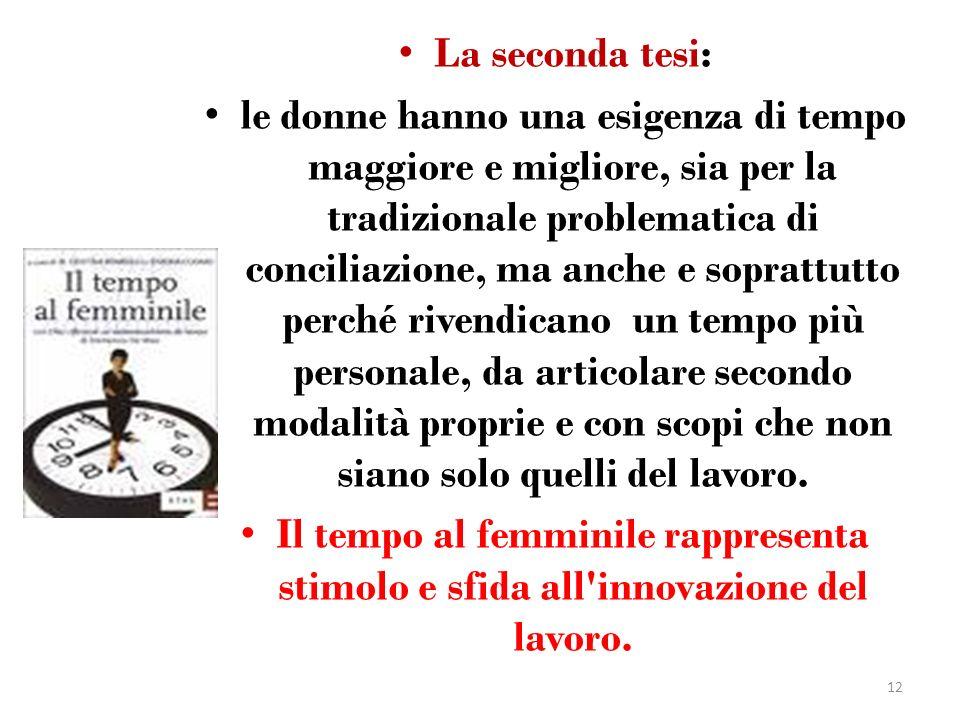 La seconda tesi: le donne hanno una esigenza di tempo maggiore e migliore, sia per la tradizionale problematica di conciliazione, ma anche e soprattut