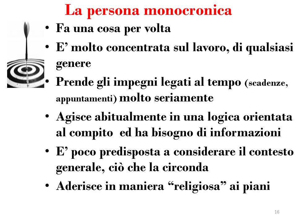 La persona monocronica Fa una cosa per volta E molto concentrata sul lavoro, di qualsiasi genere Prende gli impegni legati al tempo (scadenze, appunta