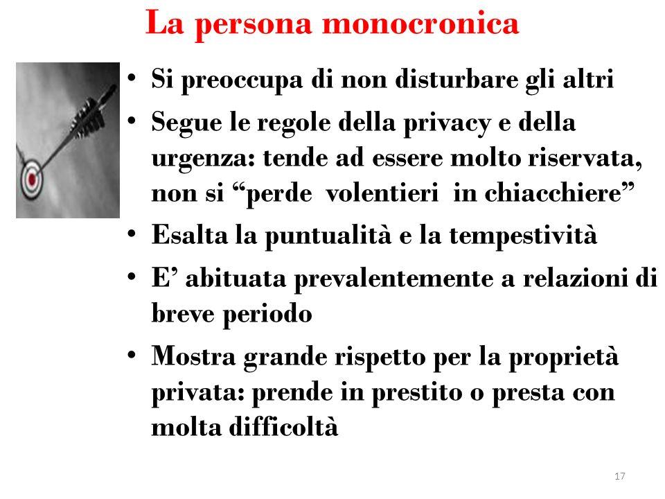 La persona monocronica Si preoccupa di non disturbare gli altri Segue le regole della privacy e della urgenza: tende ad essere molto riservata, non si