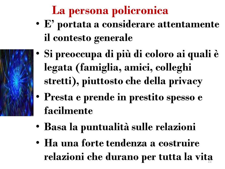 La persona policronica E portata a considerare attentamente il contesto generale Si preoccupa di più di coloro ai quali è legata (famiglia, amici, col