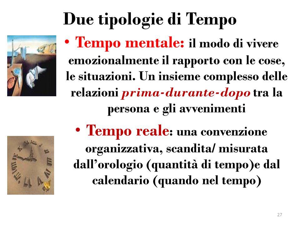 Due tipologie di Tempo Tempo mentale: il modo di vivere emozionalmente il rapporto con le cose, le situazioni. Un insieme complesso delle relazioni pr