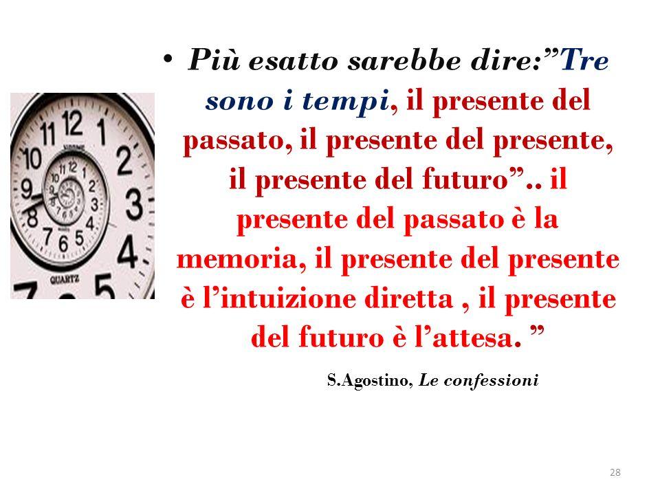 Più esatto sarebbe dire:Tre sono i tempi, il presente del passato, il presente del presente, il presente del futuro.. il presente del passato è la mem