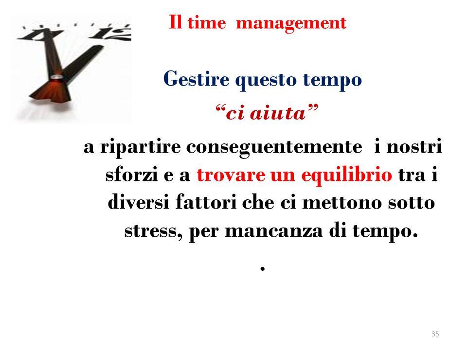 Il time management Gestire questo tempo ci aiuta a ripartire conseguentemente i nostri sforzi e a trovare un equilibrio tra i diversi fattori che ci m