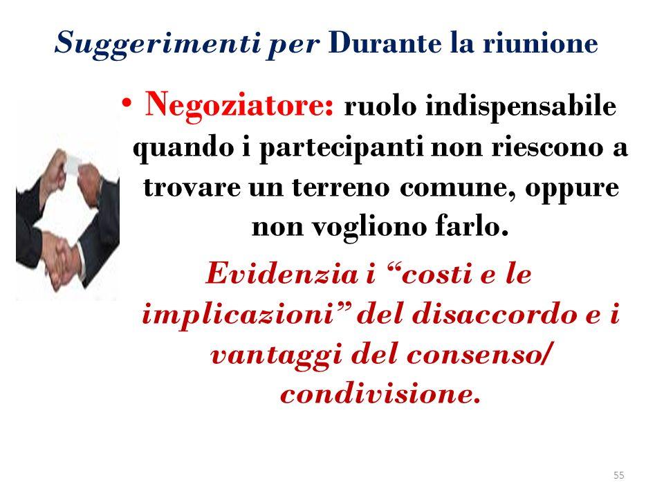 Suggerimenti per Durante la riunione Negoziatore: ruolo indispensabile quando i partecipanti non riescono a trovare un terreno comune, oppure non vogl