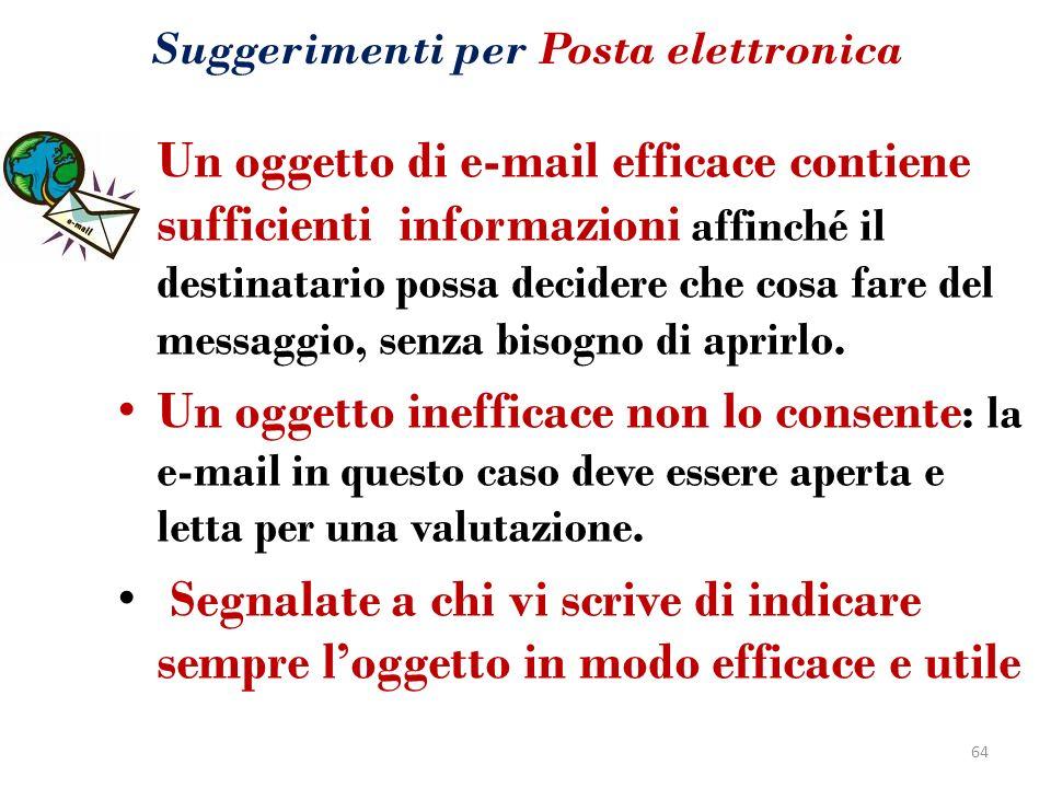 Suggerimenti per Posta elettronica Un oggetto di e-mail efficace contiene sufficienti informazioni affinché il destinatario possa decidere che cosa fa