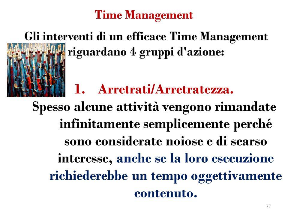 Time Management 1.Arretrati/Arretratezza. Spesso alcune attività vengono rimandate infinitamente semplicemente perché sono considerate noiose e di sca