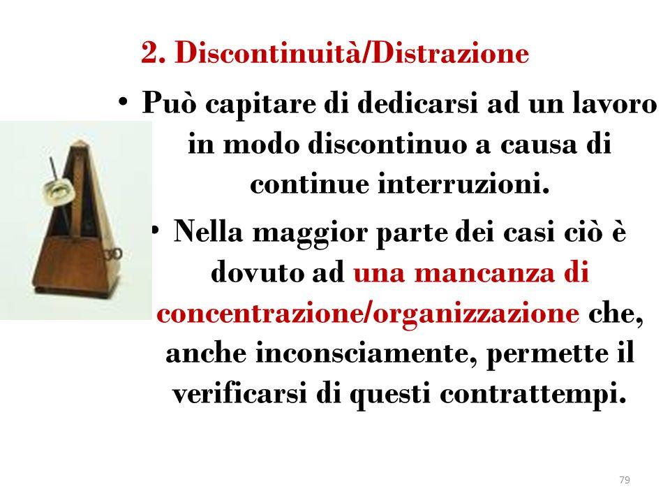 2. Discontinuità/Distrazione Può capitare di dedicarsi ad un lavoro in modo discontinuo a causa di continue interruzioni. Nella maggior parte dei casi