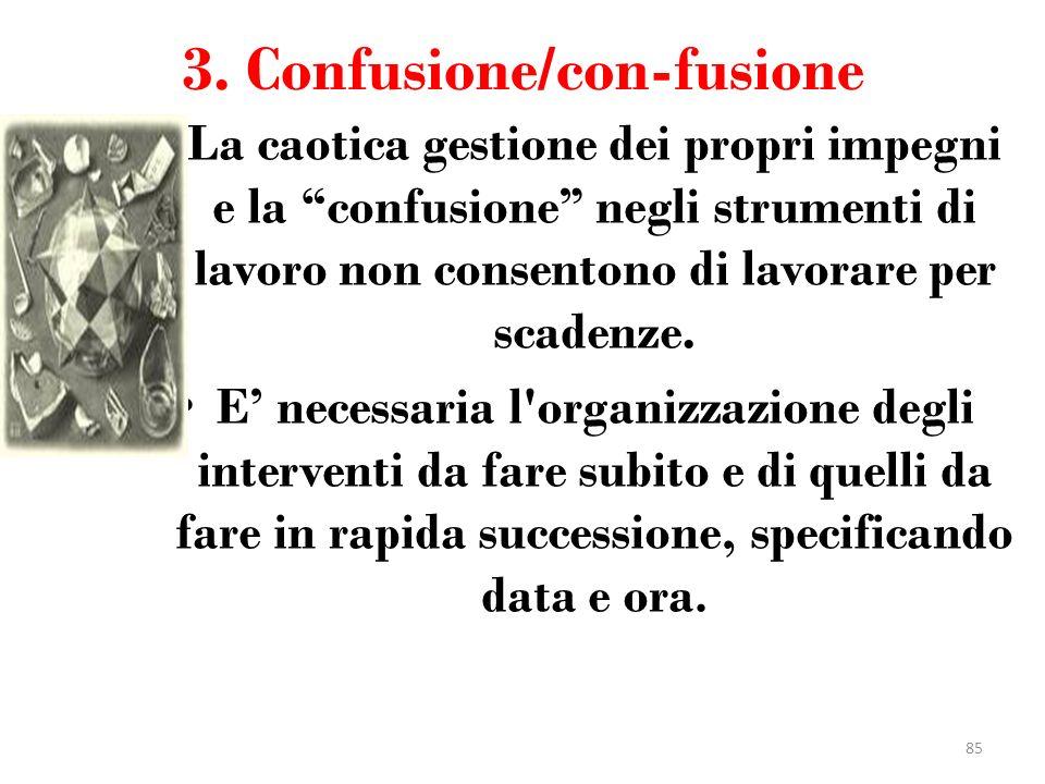3. Confusione/con-fusione La caotica gestione dei propri impegni e la confusione negli strumenti di lavoro non consentono di lavorare per scadenze. E