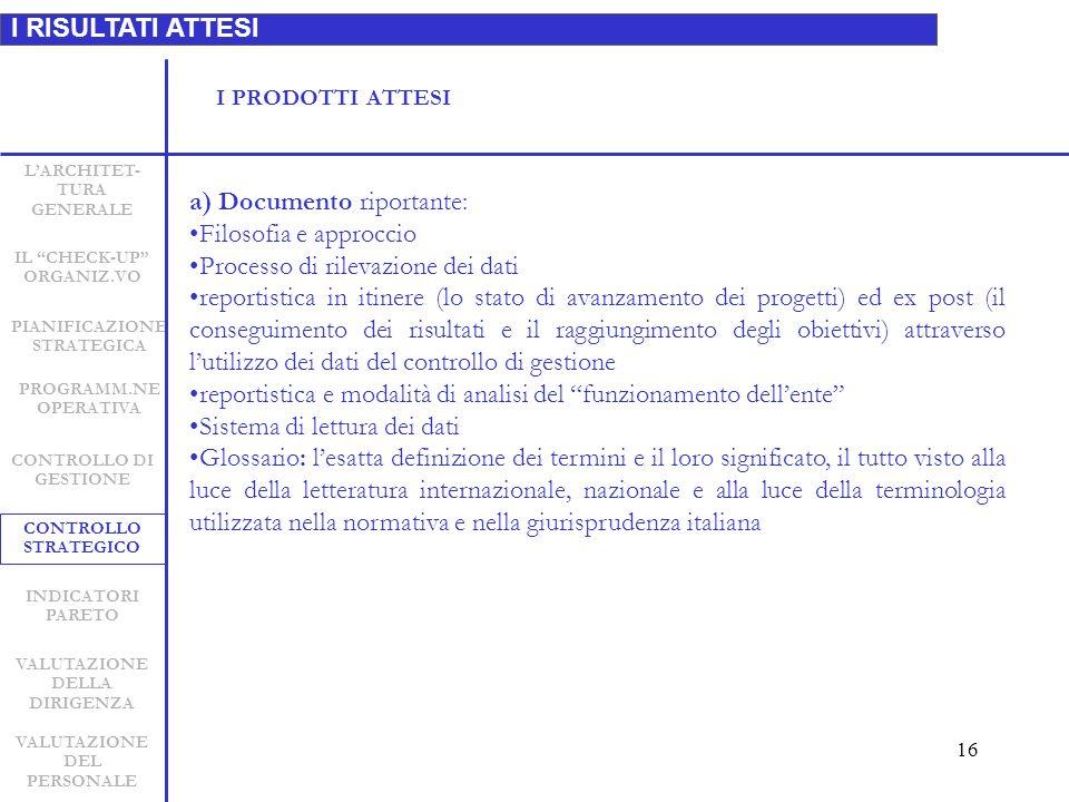 16 I RISULTATI ATTESI LARCHITET- TURA GENERALE INDICATORI PARETO CONTROLLO STRATEGICO CONTROLLO DI GESTIONE PIANIFICAZIONE STRATEGICA VALUTAZIONE DELLA DIRIGENZA VALUTAZIONE DEL PERSONALE IL CHECK-UP ORGANIZ.VO PROGRAMM.NE OPERATIVA a) Documento riportante: Filosofia e approccio Processo di rilevazione dei dati reportistica in itinere (lo stato di avanzamento dei progetti) ed ex post (il conseguimento dei risultati e il raggiungimento degli obiettivi) attraverso lutilizzo dei dati del controllo di gestione reportistica e modalità di analisi del funzionamento dellente Sistema di lettura dei dati Glossario: lesatta definizione dei termini e il loro significato, il tutto visto alla luce della letteratura internazionale, nazionale e alla luce della terminologia utilizzata nella normativa e nella giurisprudenza italiana I PRODOTTI ATTESI