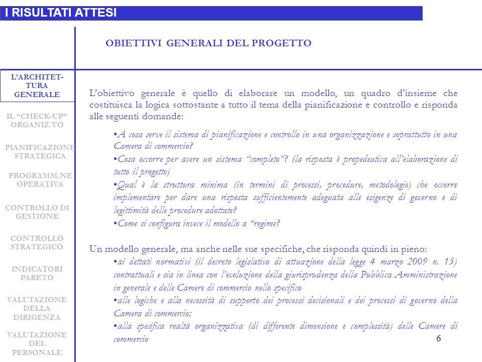 7 I RISULTATI ATTESI LARCHITET- TURA GENERALE INDICATORI PARETO CONTROLLO STRATEGICO CONTROLLO DI GESTIONE PIANIFICAZIONE STRATEGICA VALUTAZIONE DELLA DIRIGENZA VALUTAZIONE DEL PERSONALE IL CHECK-UP ORGANIZ.VO A) Documenti che indichino le caratteristiche, i punti di attenzione, gli allert che tutti i prodotti relativi al ciclo vita della pianificazione e controllo devono possedere per essere in linea con le: esigenze di validazione e struttura scientifica e metodologica le nuove linee evolutive della normativa in materia dei controlli nella P.A.