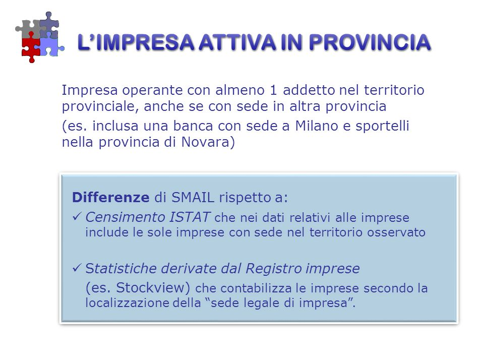 Impresa operante con almeno 1 addetto nel territorio provinciale, anche se con sede in altra provincia (es. inclusa una banca con sede a Milano e spor