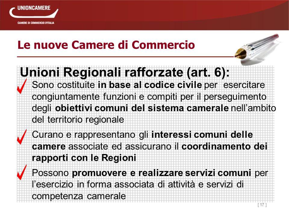 [ 17 ] Le nuove Camere di Commercio Unioni Regionali rafforzate (art.