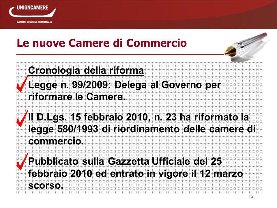 [ 2 ] Le nuove Camere di Commercio Cronologia della riforma Legge n.