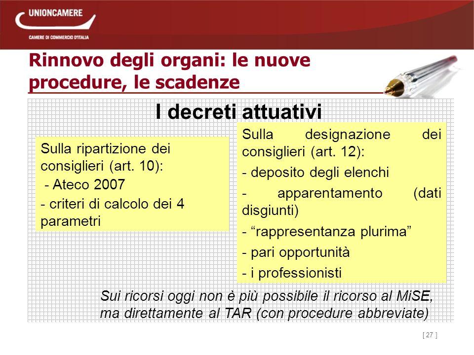 [ 27 ] Rinnovo degli organi: le nuove procedure, le scadenze Sulla ripartizione dei consiglieri (art.