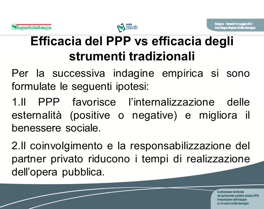 Efficacia del PPP vs efficacia degli strumenti tradizionali Per la successiva indagine empirica si sono formulate le seguenti ipotesi: 1.Il PPP favorisce linternalizzazione delle esternalità (positive o negative) e migliora il benessere sociale.