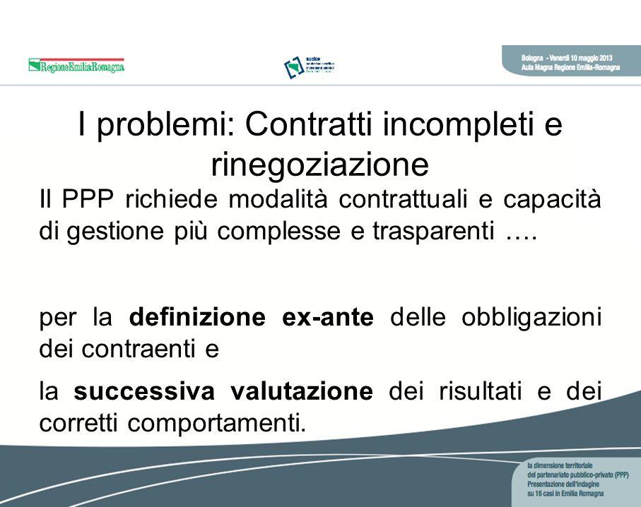 I problemi: Contratti incompleti e rinegoziazione Il PPP richiede modalità contrattuali e capacità di gestione più complesse e trasparenti ….
