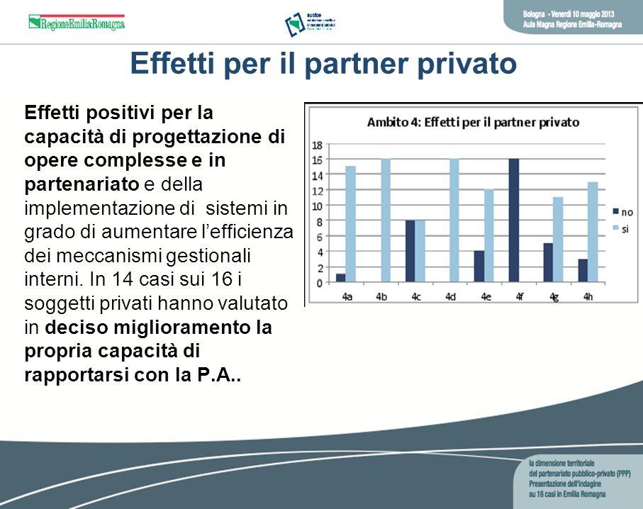 Effetti per il partner privato Effetti positivi per la capacità di progettazione di opere complesse e in partenariato e della implementazione di siste