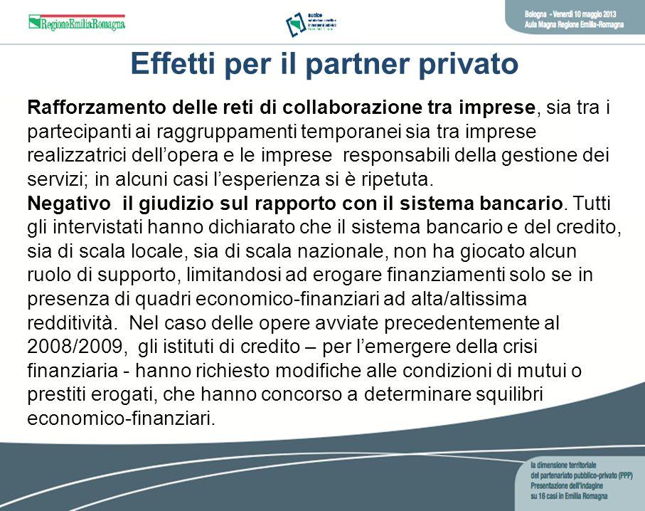 Effetti per il partner privato Rafforzamento delle reti di collaborazione tra imprese, sia tra i partecipanti ai raggruppamenti temporanei sia tra imp
