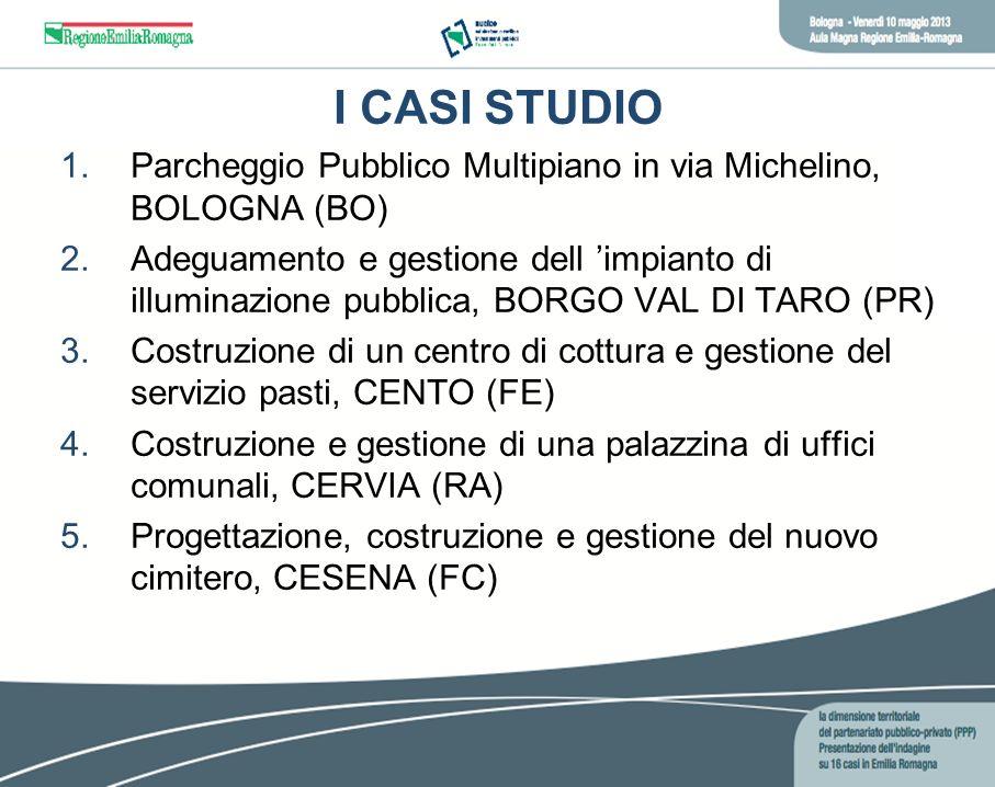 I CASI STUDIO 1.Parcheggio Pubblico Multipiano in via Michelino, BOLOGNA (BO) 2.Adeguamento e gestione dell impianto di illuminazione pubblica, BORGO