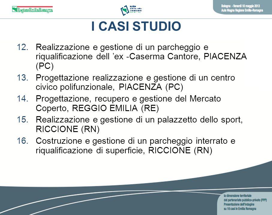 I CASI STUDIO 12.Realizzazione e gestione di un parcheggio e riqualificazione dell ex -Caserma Cantore, PIACENZA (PC) 13.Progettazione realizzazione e