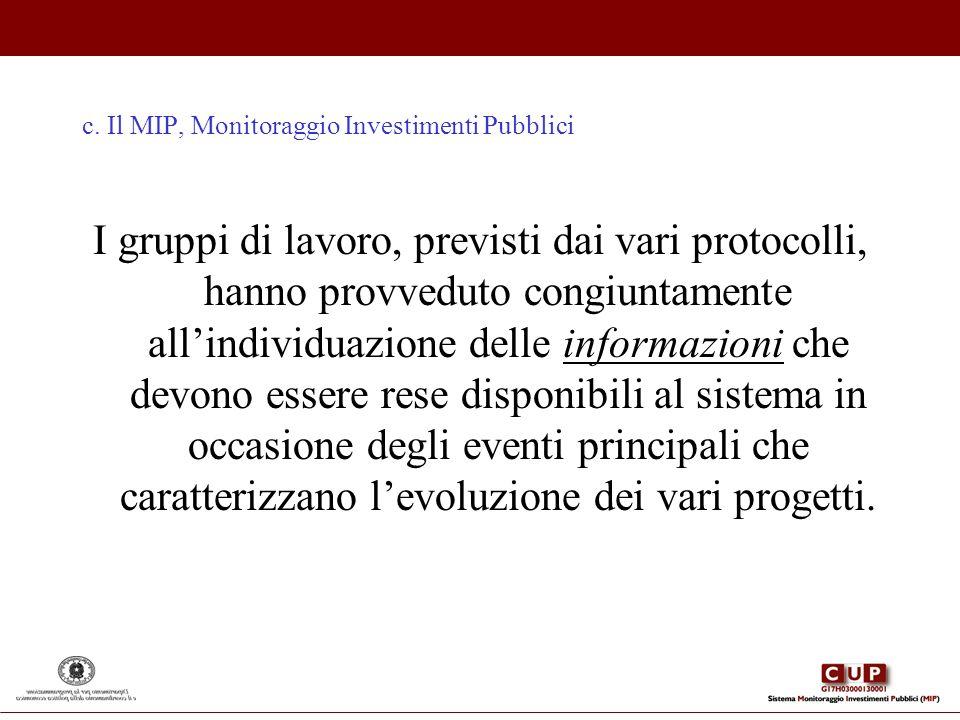 c. Il MIP, Monitoraggio Investimenti Pubblici I gruppi di lavoro, previsti dai vari protocolli, hanno provveduto congiuntamente allindividuazione dell