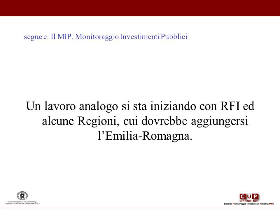 segue c. Il MIP, Monitoraggio Investimenti Pubblici Un lavoro analogo si sta iniziando con RFI ed alcune Regioni, cui dovrebbe aggiungersi lEmilia-Rom