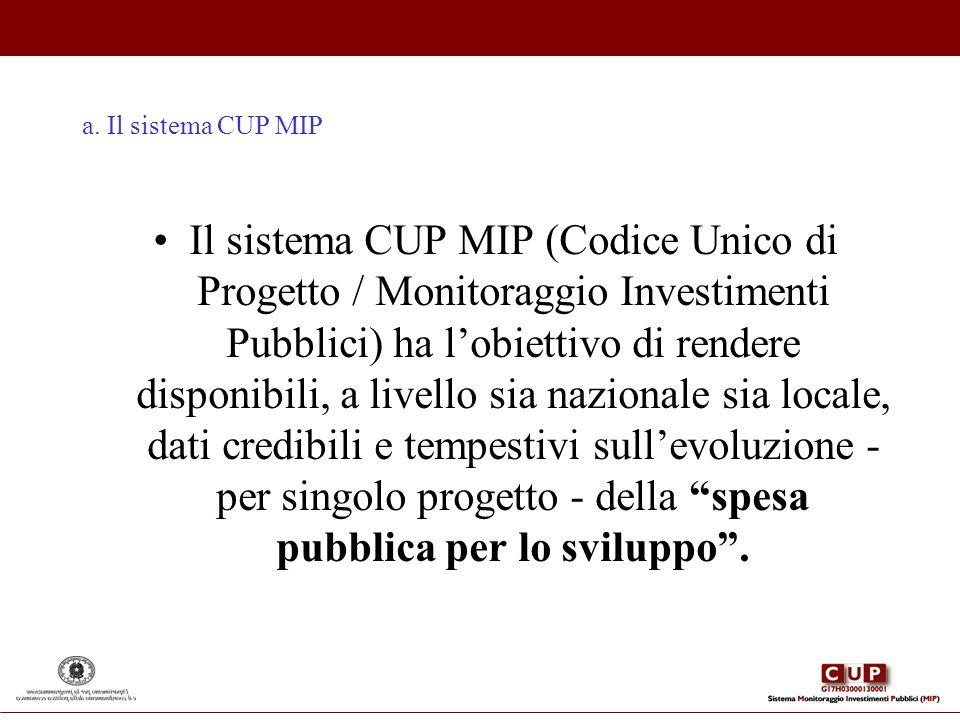 a. Il sistema CUP MIP Il sistema CUP MIP (Codice Unico di Progetto / Monitoraggio Investimenti Pubblici) ha lobiettivo di rendere disponibili, a livel