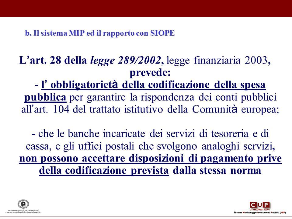 b. Il sistema MIP ed il rapporto con SIOPE L art. 28 della legge 289/2002, legge finanziaria 2003, prevede: - l obbligatoriet à della codificazione de