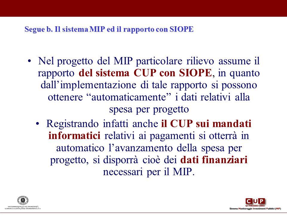 Segue b. Il sistema MIP ed il rapporto con SIOPE Nel progetto del MIP particolare rilievo assume il rapporto del sistema CUP con SIOPE, in quanto dall