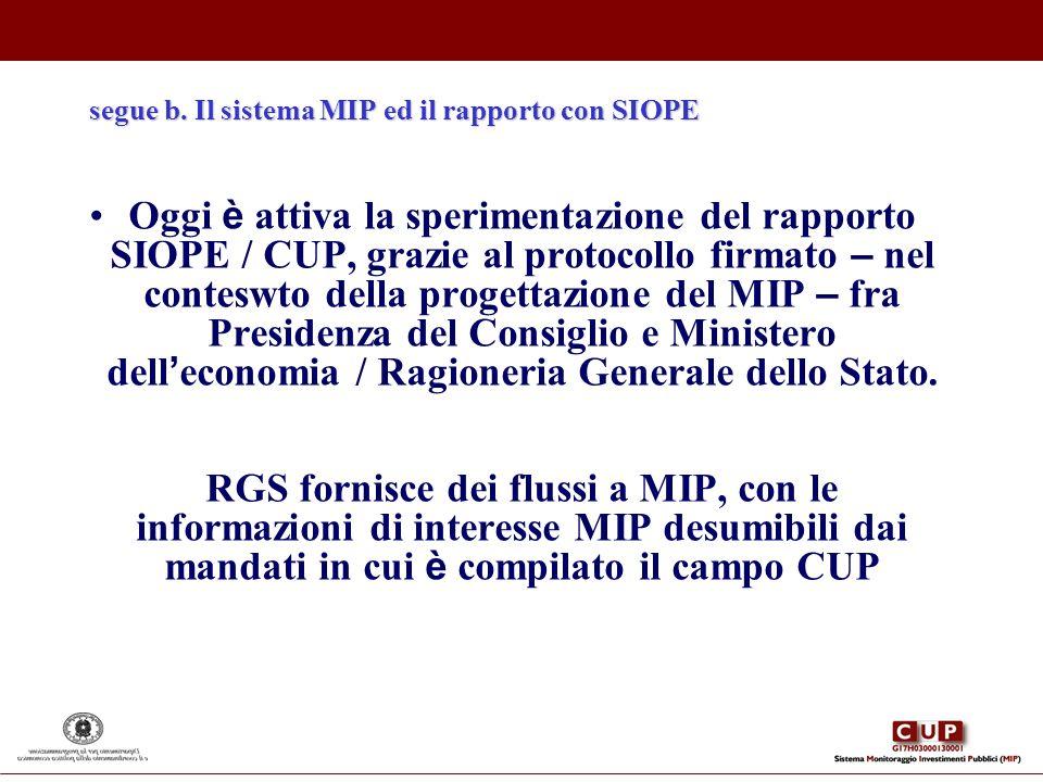 segue b. Il sistema MIP ed il rapporto con SIOPE Oggi è attiva la sperimentazione del rapporto SIOPE / CUP, grazie al protocollo firmato – nel contesw