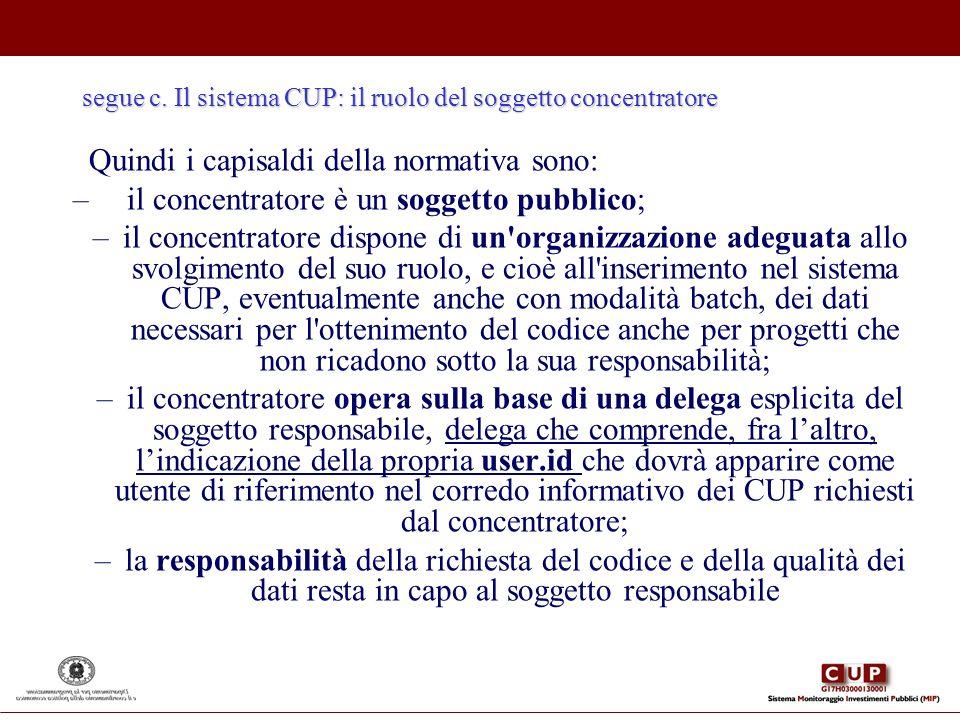 segue c. Il sistema CUP: il ruolo del soggetto concentratore Quindi i capisaldi della normativa sono: – il concentratore è un soggetto pubblico; –il c
