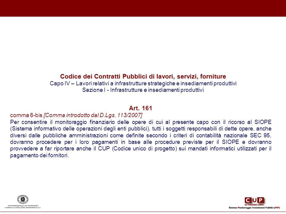 Codice dei Contratti Pubblici di lavori, servizi, forniture Capo IV – Lavori relativi a infrastrutture strategiche e insediamenti produttivi Sezione I