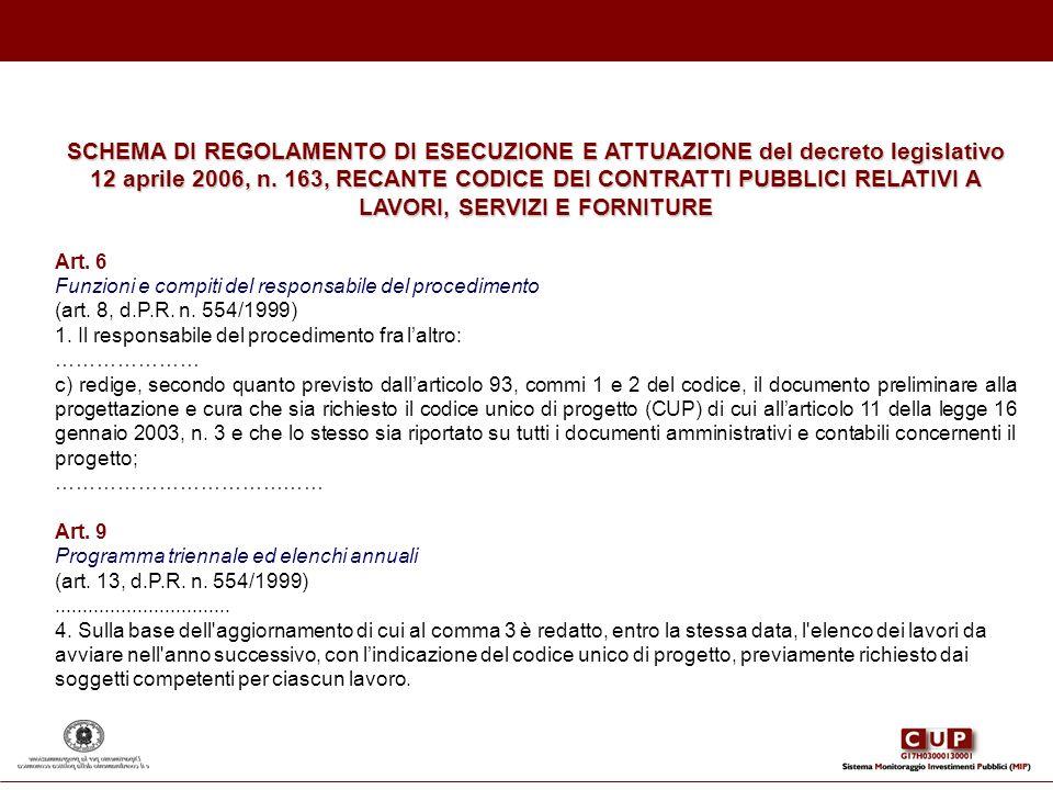 SCHEMA DI REGOLAMENTO DI ESECUZIONE E ATTUAZIONE del decreto legislativo 12 aprile 2006, n. 163, RECANTE CODICE DEI CONTRATTI PUBBLICI RELATIVI A LAVO