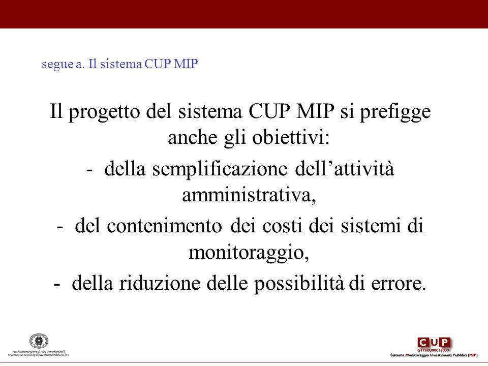 segue a. Il sistema CUP MIP Il progetto del sistema CUP MIP si prefigge anche gli obiettivi: -della semplificazione dellattività amministrativa, -del
