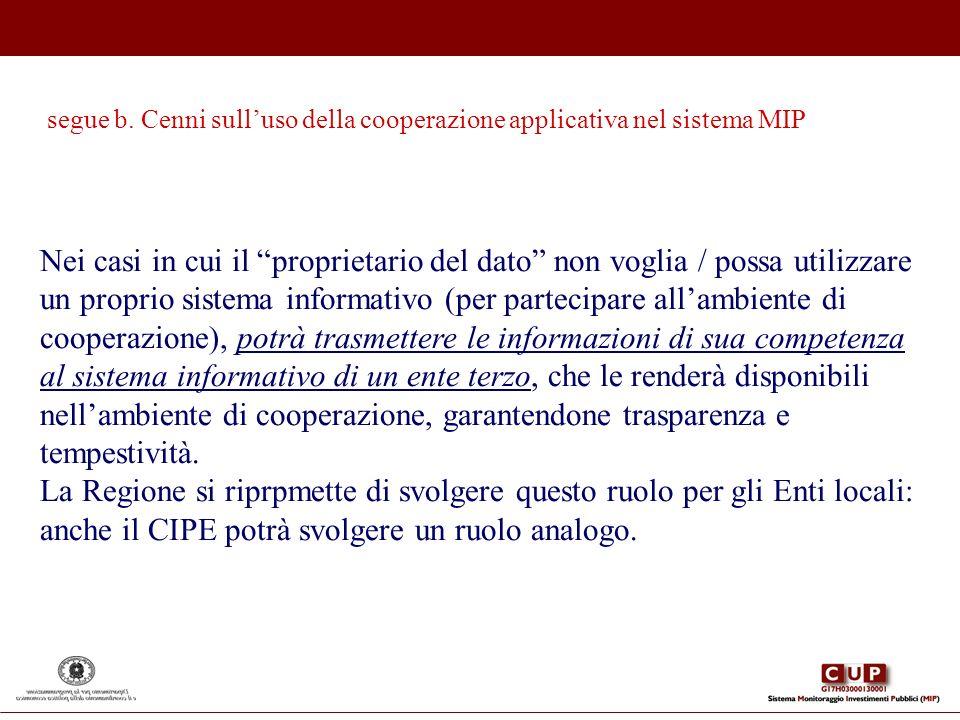Nei casi in cui il proprietario del dato non voglia / possa utilizzare un proprio sistema informativo (per partecipare allambiente di cooperazione), p