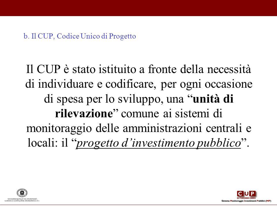 b. Il CUP, Codice Unico di Progetto Il CUP è stato istituito a fronte della necessità di individuare e codificare, per ogni occasione di spesa per lo