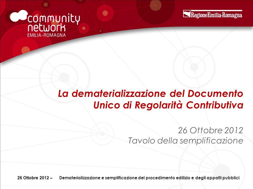 La dematerializzazione del Documento Unico di Regolarità Contributiva 26 Ottobre 2012 Tavolo della semplificazione 26 Ottobre 2012 – Dematerializzazio