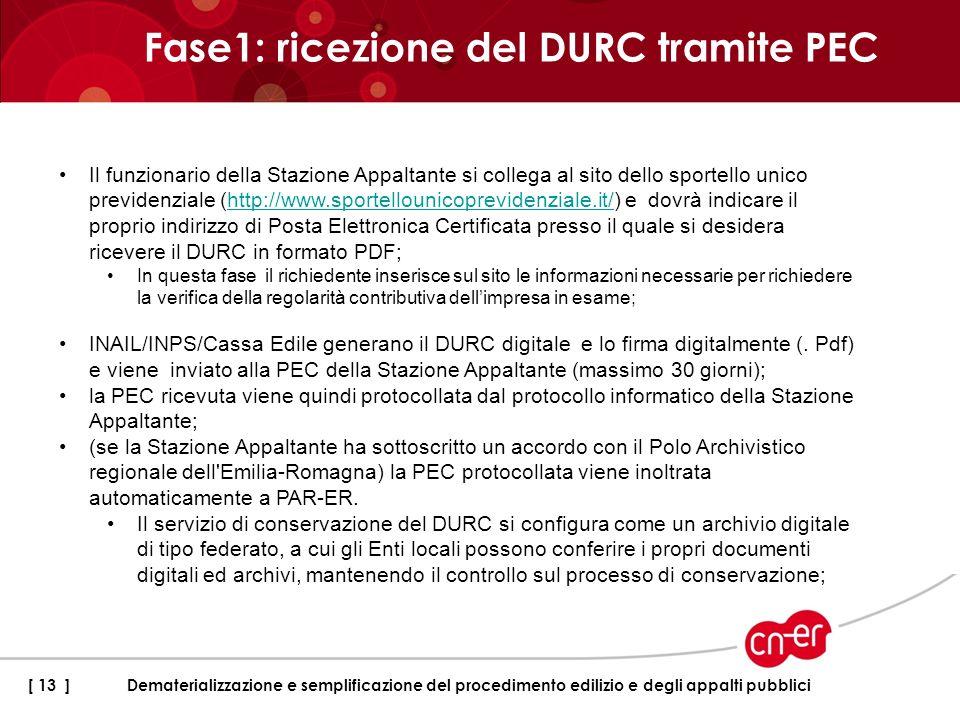 Fase1: ricezione del DURC tramite PEC [ 13 ]Dematerializzazione e semplificazione del procedimento edilizio e degli appalti pubblici Il funzionario de