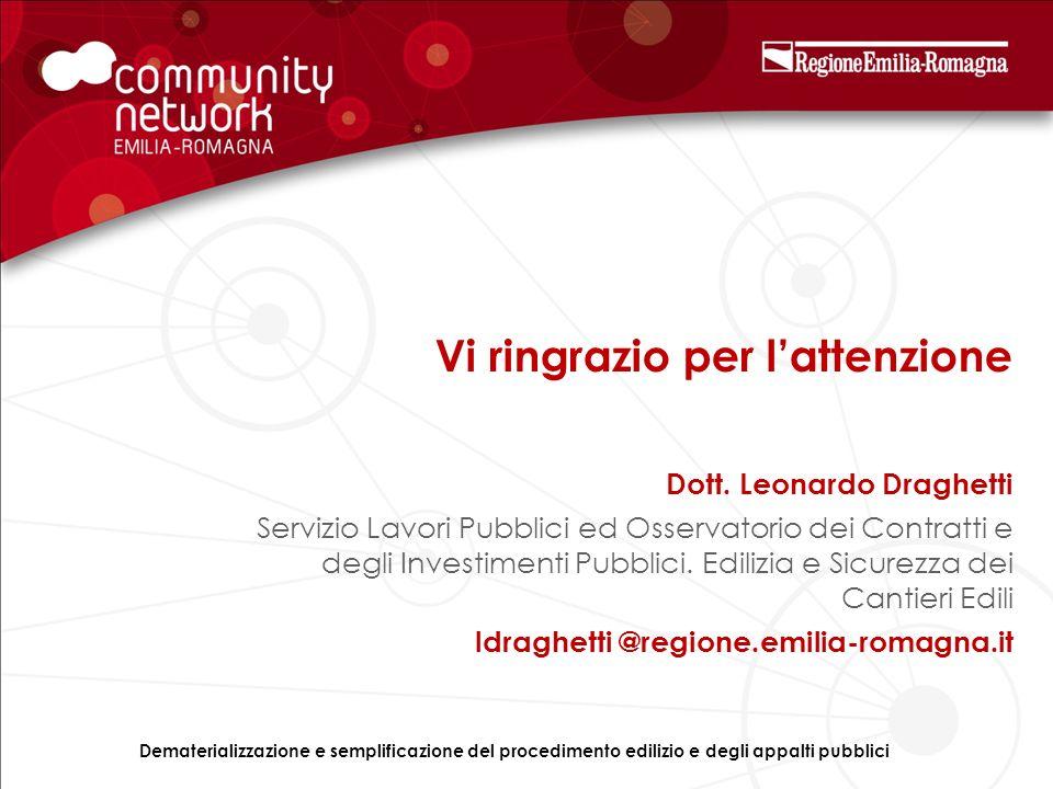 Vi ringrazio per lattenzione Dott. Leonardo Draghetti Servizio Lavori Pubblici ed Osservatorio dei Contratti e degli Investimenti Pubblici. Edilizia e