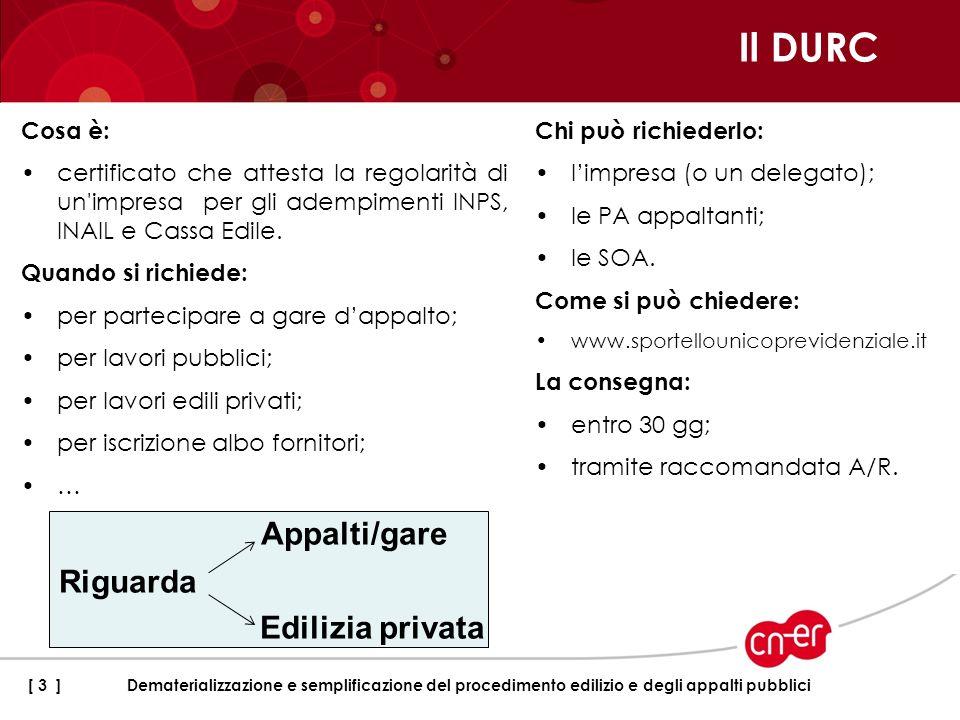 Il DURC Cosa è: certificato che attesta la regolarità di un'impresa per gli adempimenti INPS, INAIL e Cassa Edile. Quando si richiede: per partecipare