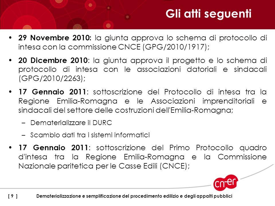 29 Novembre 2010: la giunta approva lo schema di protocollo di intesa con la commissione CNCE (GPG/2010/1917); 20 Dicembre 2010 : la giunta approva il
