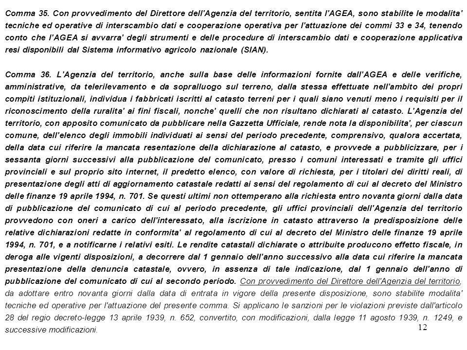 12 Comma 35. Con provvedimento del Direttore dell'Agenzia del territorio, sentita l'AGEA, sono stabilite le modalita' tecniche ed operative di intersc