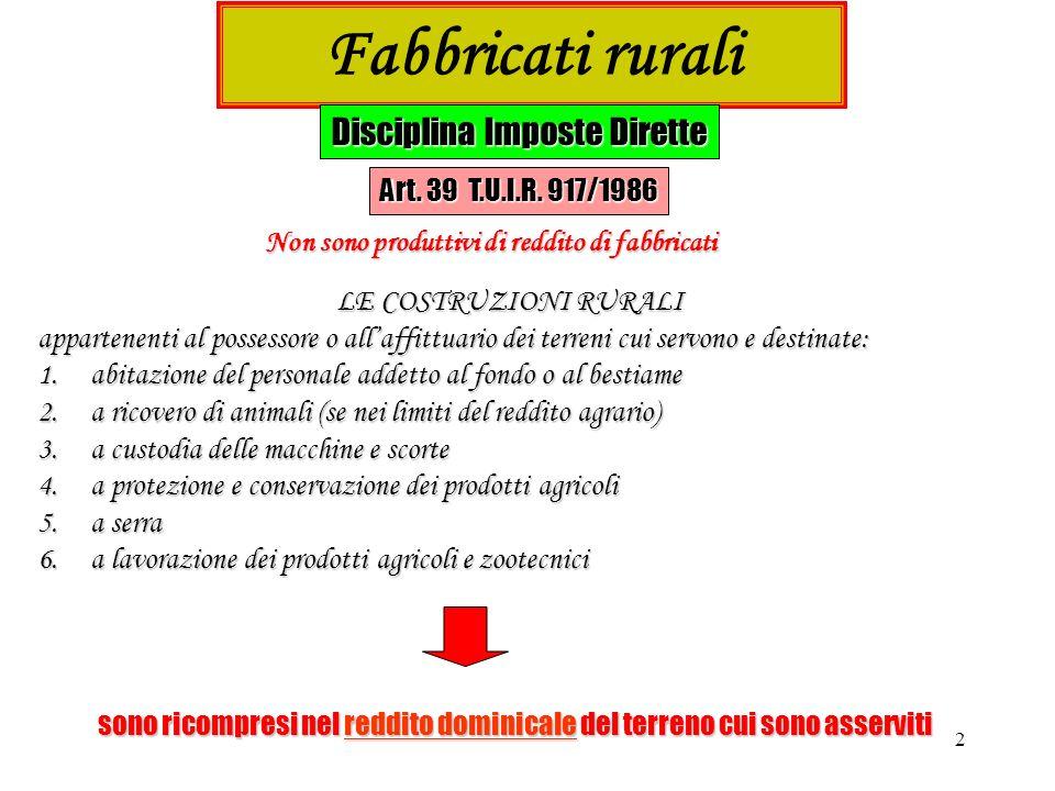 3 …segue Fabbricati rurali Disciplina Imposte Dirette Art.